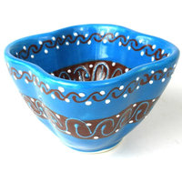 Dip Bowl, Azure Blue Mexican Pottery