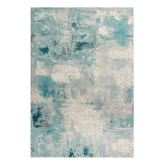 """Pop Modern Abstract Vintage Runner Rug, Cream and Blue, 7'9""""x10'"""