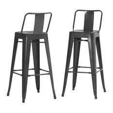 Rayne Metal Bar Stools With Footrests, Grey, Set of 2
