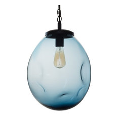 Pendant Light Handblown Glass Organic Contemporary Hanging Light, Blue, 15.8""
