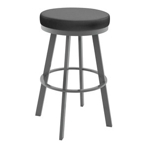 Swice Swivel Stool, Magnetite and Glossy Gray, Counter Height