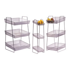 G E T Enterprises Inc 6 X8 Silver Mesh 3 Tier Wire Basket Stand