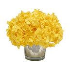 Mercury Glass Votive, Yellow Hydrangea