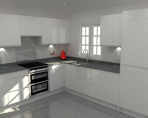 Modern Handleless White High Gloss Kitchen With Grey