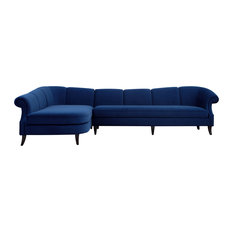 Victoria Upholstered Sectional Sofa, Navy Blue, Left