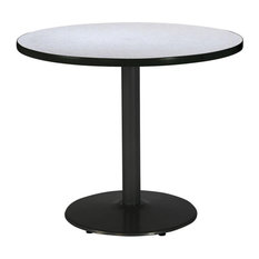 36-inch Round Pedestal Table With Grey Nebula Top Round Black Base