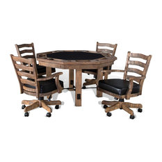 Sawyer Twain - Henry Convertible Poker and Dining Table With Chairs - Game Tables