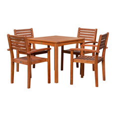 DTY Outdoor Living Leadville 5-Piece Eucalyptus Dining Set, Table and 4 Chairs,