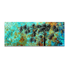 Landscape Painting 'Spring Blooms', Abstract Tree Art on Acrylic