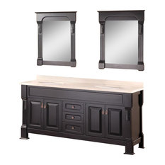 "Marcos 72"" Double Sink Vanity Set With Travertine Stone Countertop, Espresso"