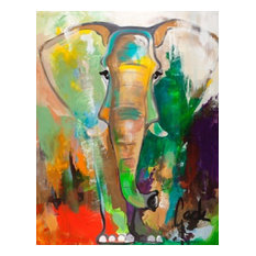 "Contemporary Large Canvas Art, Hand Painted,""Elephant Dream"""