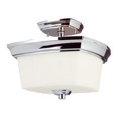 2-Light, 60W Semi Flush Ceiling Light, Chrome/Frosted Opal Glass