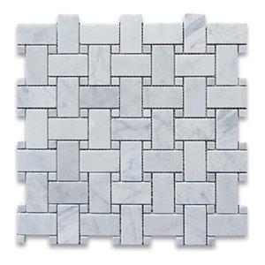 "12""x12"" Carrara White Basketweave Mosaic, Carrara White Dots Honed"