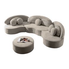 50 Most Popular Curved Sectional Sofas, Faux Leather Curved Sectional Sofa