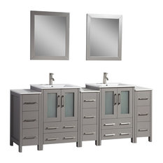 "84"" Vanity Set With Ceramic Top, Gray"