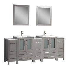 "Vanity Art Vanity Set With Ceramic Top, 84"", Gray"