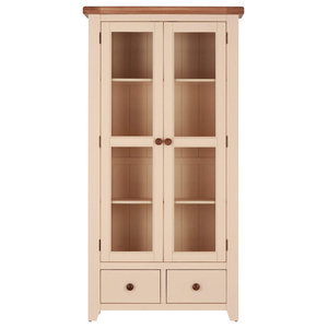 Champagne Painted Oak Double Glazed Display Cabinet With Drawers