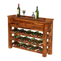 Deluxe Solid Wood 2 Drawer Wine Rack Console Table