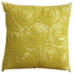 Spiral Sequins Yellow Pillow Shams, Art Silk 60x60 Pillow Shams, Yellow Touch