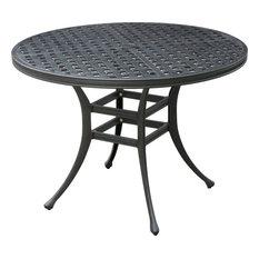 Chiara II Contemporary Round Patio Dining Table, Dark Gray