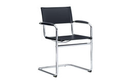 Linon Silas Metal Arm Chair in Chrome and Black