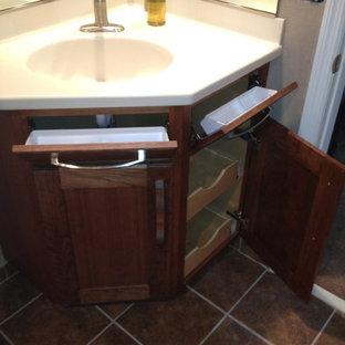 Modern Dark Wood Corner Bathroom Vanity