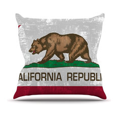 """Bruce Stanfield """"California Flag"""" Gray Red Outdoor Throw Pillow"""
