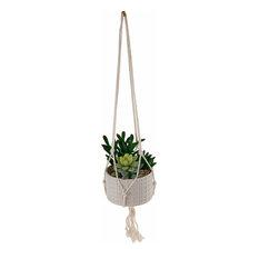 "Faux Succulents Garden Macrame White Hanging Ceramic Planter, 4.5"""