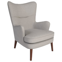 Colm Wingback Accent Chair, Stone Beige Fabric