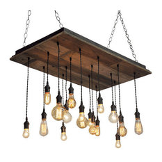 Reclaimed Wood Chandelier, Brass Socket, Suspended