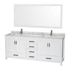 "Sheffield Double Vanity, 70"" Mirror, White, 80"", Square, White Carrara Marble"
