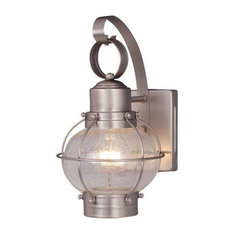 """Vaxcel Chatham 7"""" Outdoor Wall Light, Brushed Nickel"""