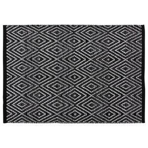 Handwoven Black Diamonds Cotton Rug, 60x90 Cm