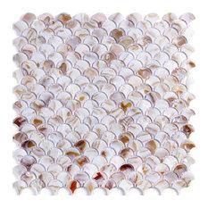 Colorful Fan Shaped Fish Scale Mosaic Tile Honed, Single Tile