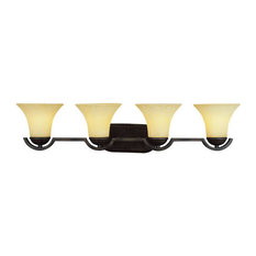 Oil Rubbed Bronze and Tea Stained Glass 4-Light Bath Vanity