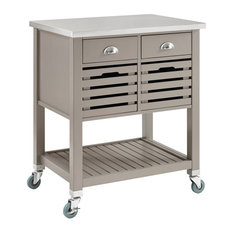 Linon Robbin Wood Kitchen Cart in Gray