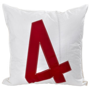 Recycled Sail Big Cushion, White and Red