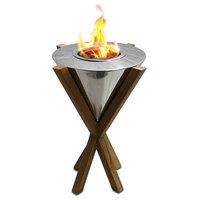 """Indoor/Outdoor """"Southampton"""" Teak Gel Fireplace"""