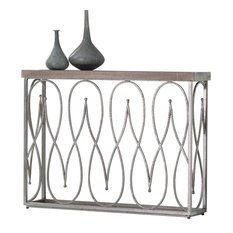 Moroccan Whitewashed Mango Wood and Nickel Console Table