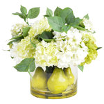 Creative Displays - Pear and Hydrangea Centerpiece Arrangement - Although the fresh hydrangeas and crisp pears look like they came straight from the garden, the Pear Flower and Fruit Arrangement, remarkably, is artificial. Adorn your kitchen table or freshen up a powder room with this beautiful fresh-cut arrangement that stays perfect year-round. Complete with vase, you are just one easy step away from simple elegance.
