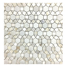 "11.8""x11.8"" Bloom Carrara & White Shell Water Jet Mosaic Tile, Single Sheet"