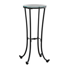 Accent Table With Tempered Glass and Metal Base, Hammered Black