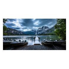 """Storm at Silver Lake Dock, 16""""x8"""""""