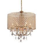 Edvivi Lighting - 6-Light Gold Round Beaded Drum Chandelier With Hanging Crystals - This opulent six-light chandelier is the perfect addition to a dining room, bedroom, or living room for a bit of added drama. The gold finish gives this fixture a unique quality while the crystal encrusted drum shade and cascading crystals reflect light beautifully. The chain is 40 inches long and is adjustable. It can be shortened by removing some links, which makes it perfect for practically any ceiling height or room size.