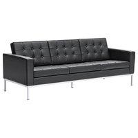 Modern Classics Button Sofa in Leather, Black
