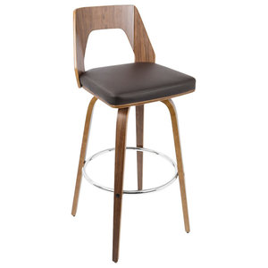 Vintage Mod Mid-Century Adjustable Barstool With Swivel, Walnut/Blue