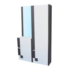 3-Piece Wardrobe Set, White and Ash