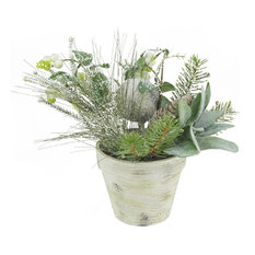 """10"""" Artificial Frosted Pine Cones and Berries Winter Floral Arrangement"""