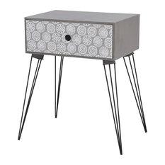 VidaXL Rectangular Bedside Cabinet With 1 Drawer, Grey