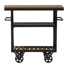 Baxton Studio   Kennedy Rustic Antique Black Textured Metal Distressed Wood  Mobile Serving Cart   Kitchen